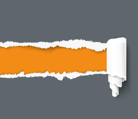 Ciemny podarty papier z rolki papieru na pomarańczowym tle z miejscem na tekst. Papier z poszarpanymi krawędziami. Realistyczny wektor rozdarty szablon papieru do Internetu i drukowania.