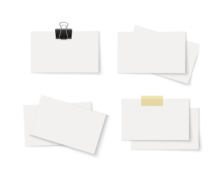 scotch: Set of blank white business cards with paper clip and Scotch tape isolated on white background. Twisted stack of vector paper cards. Realistic vector illustration of paper sheets with space for text