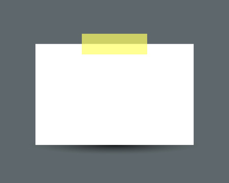 scotch tape: Blank white business card with scotch tape and soft shadow isolated on dark background. White paper card. Realistic vector illustration of paper card with space for text