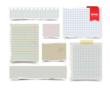 old notebook: Set of old vintage notepaper sheets with shadow isolated on white background. Squared and lined notebook page wit ragged edges. Torn ragged paper pieces. Realistic vector illustration of paper pieces.