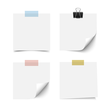 White blank sticky note paper sheets with curled corner with scotch tape and paper clip isolated on white background. Reilistic vector illustration of paper notes. Иллюстрация