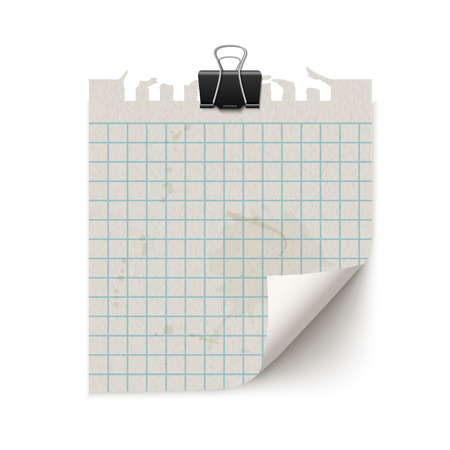 old notebook: White blank old fashion sticky notebook paper sheet with curled corner with paper clip isolated on white background. Reilistic vintage retro vector illustration of squared paper note. Illustration