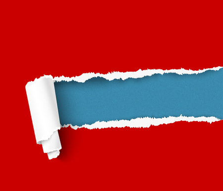 tear off: Red torn paper with a paper roll over blue background with space for text. Realistic vector torn damaged paper with ripped edges. Torn paper template. Torn paper banner for web and print advertising and sale promotion.