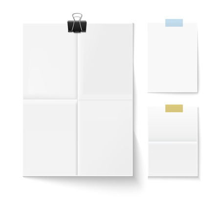 paper sheets: Folded paper sheet with shadow and paper clip isolated on white. Set of three white sheets of paper. Realistic vector illustration of paper sheets.