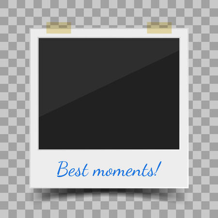 Old style photo frame. Realistic vector illustration of blank retro photo frame wit space for text Illustration