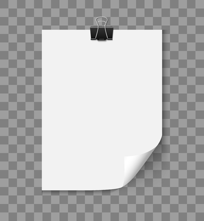note paper background: White blank paper a4 page with curled corner with paper clipisolated on transparent background. Realistic vector illustration of curled paper.