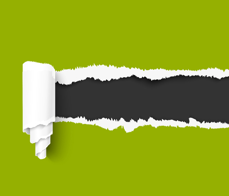 tear off: Green torn paper with a paper roll over dark background with space for text. Realistic vector torn damaged paper with ripped edges. Torn paper template. Torn paper banner for web and print advertising and sale promotion.