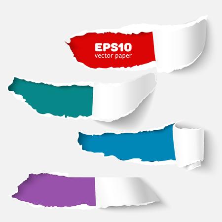 Conjunto de la bandera con el agujero en el papel blanco con lados desgarrados. realista del vector rasgó el papel dañado con los bordes rasgados. papel rasgado para web e impresión de la bandera. Plantilla de papel rasgado de publicidad y promoción de la venta.