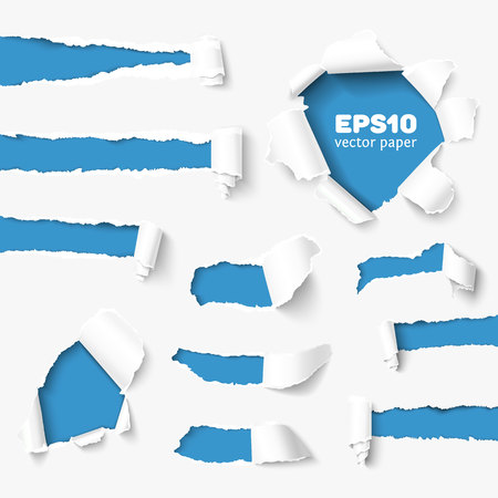 Set of holes in white paper with torn sides over paper background with space for text. Realistic vector torn paper with ripped edges. Torn paper banner for web and print. Torn paper template. Damaged torn paper for design. Ilustração