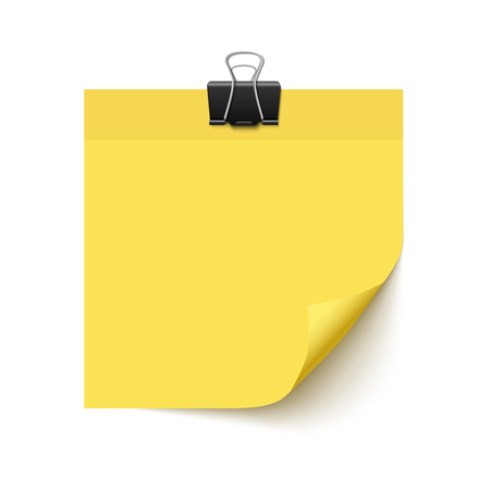 Yellow sticky note paper with curled corner. Realistic vector illustration of post it paper with paper clip. Paper sheet for reminder and memo