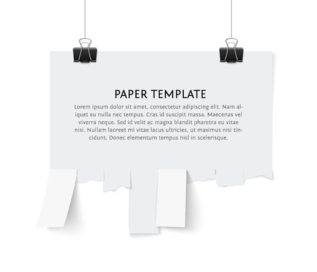 notice: Tear off stripes of paper sheet. Street advertisement template with copy space template isolated on white background. Tear off paper notice on the wall.