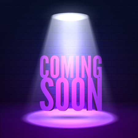night club interior: Coming soon illumination. Shine effects on a dark grunge wall background. Bright lighting with spotlights and glow effects