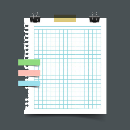 scotch tape: Paper sheet torn from a notebook. Realistic vector illustration of squared sheet of notepaper from ring binder with scotch tape pieces and paper clip