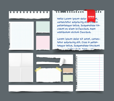 scotch tape: Set of various paper sheets and pieces. White folded page, sqared and lined notepaper, paper banner with hole and paper roll, torn paper with ripped edges, ragged pages, scotch tape, paper clip. Realistic vector template for design with space for text.