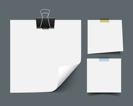 White blank sticky note paper sheets with curled corners with scotch tape and paper clip isolated on dark background. Realistic vector illustration of paper notes. Reminder paper