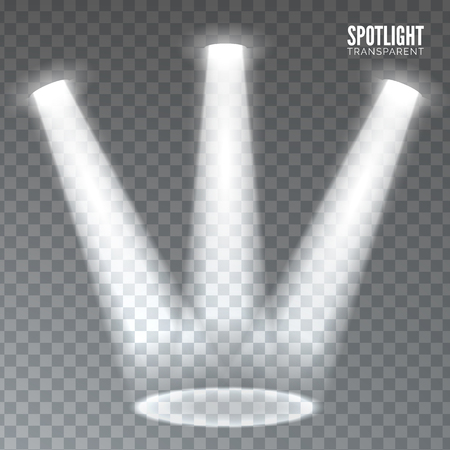 spotlight on stage: Stage spotlight on dark transparent background. Vector scene illuminated spotlight. Stage spotlight. Spotlight background vector. Show scene spotlight. Spotlight glow effect on transparent background. Illustration