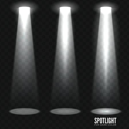 spotlight: Stage spotlight on dark transparent background. Vector scene illuminated spotlight. Stage spotlight. Spotlight background vector. Show scene spotlight. Spotlight glow effect on transparent background. Illustration