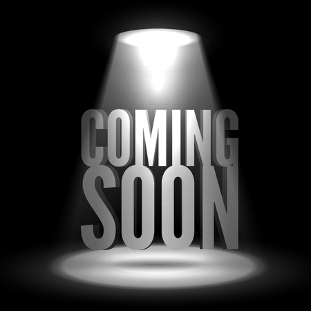 limelight: Coming soon in stage spotlight on dark background. Vector scene illuminated spotlight. Spotlight background vector. Coming soon on a show scene spotlight. Spotlight glow effect stage background.