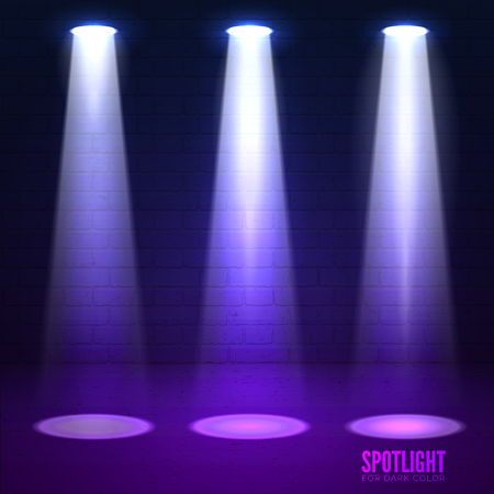 effects of lighting: Scene illumination. Shine effects on a dark grunge wall background. Bright lighting with spotlights and glow effects