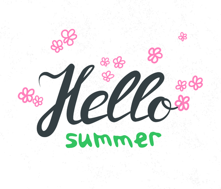 wor: Hand lettering with phrase Hello Summer. Hand written quote wor web banner and print. Calligraphy text design. Vector Illustration