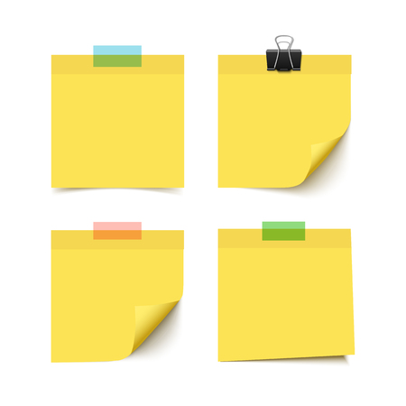 post it notes: Set of four yellow sticky notes with scotch tape pieces. Realistic vector illustration of post it paper notes isolated on white background. Notepaper pieces.