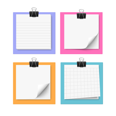 Set of four with sticky notes with paper clip. Realistic vector illustration of post it paper. Blank memo paper.