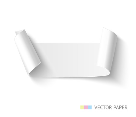 sides: Paper banner with curved sides curved. Realistic vector paper ribbon. Illustration