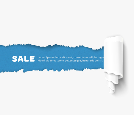 White torn paper with a paper roll over blue background with space for text. Realistic vector torn damaged paper with ripped edges. Torn paper template. Paper roll. Иллюстрация