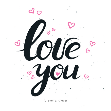 greating card: Hand drawn lettering with phrase I love you. vector romantic lettering for for print greating card, wedding invitation and stamp. Quote with text about love with small hearts isolated on white