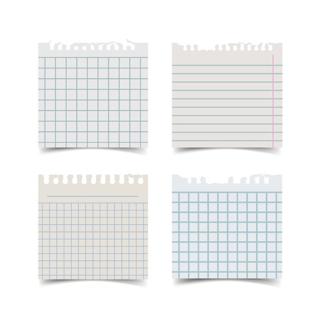 Old fashion sticky notebook paper sheets with soft shadow and torn edges isolated on white background. Reilistic vintage retro vector illustration of squared and lined paper squares. Vettoriali