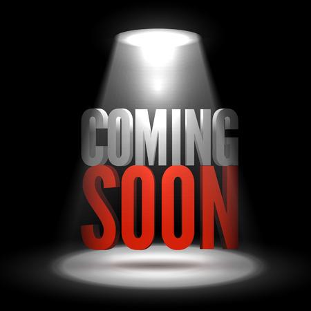 limelight: Coming soon in stage spotlight on dark background. Vector scene illuminated spotlight. Spotlight background vector. Coming soon on a show scene spotlight. Spotlight glow effect stage background.