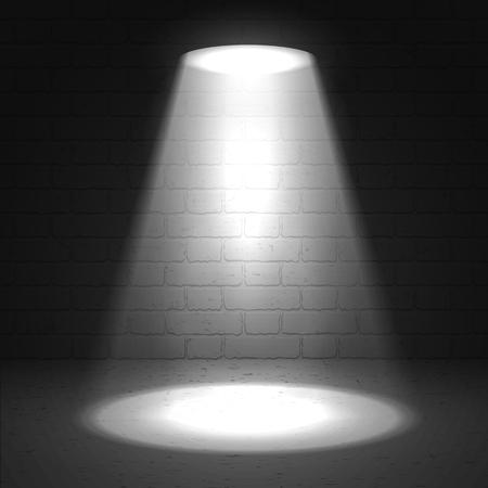 limelight: Stage spotlight on dark grunge background. Vector scene illuminated spotlight. Stage spotlight. Spotlight background vector. Show scene spotlight. Spotlight glow effect background. Spotlight on stage.