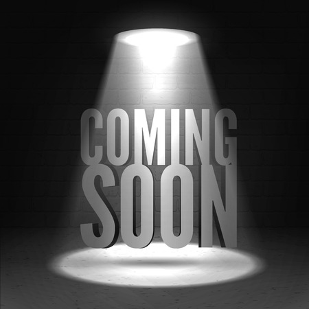 vector sign under construction: Coming soon in stage spotlight on dark background. Vector scene illuminated spotlight. Spotlight background vector. Coming soon on a show scene spotlight. Spotlight glow effect stage background.