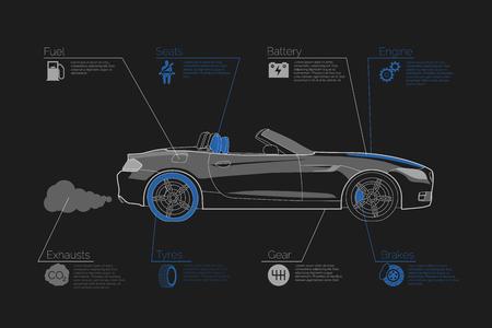Car infographics on dark background. Vector illustration