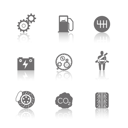 polution: Car related icons on white background. vector illustration