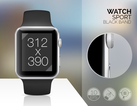 blured: Smart watch isolated on blured background. Vector illustration Illustration
