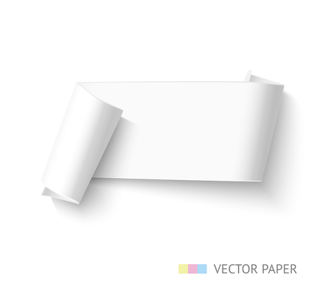 paper roll: Blank paper roll banner. Realistic horizontal vector paper ribbon for sale advertising. Curved paper template. Illustration