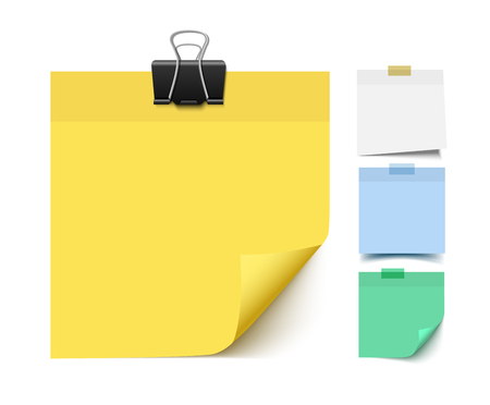 Przyklejony Uwaga papieru. Realistyczne ilustracji wektorowych Post it papierowe kawałki. Memo, papier przypomnienia.