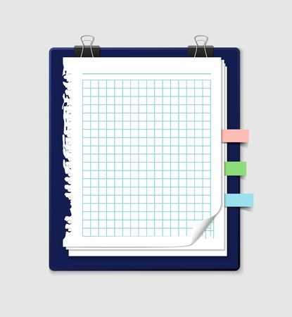 Squared paper sheets with ripped edges from notebook with colorful bookmarks and paper clips. Realistic illustration of vector note paper. Stack of paper sheets with curled corners. Illustration