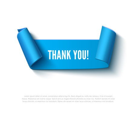paper rolls: Blue curved paper ribbon banner with paper rolls and inscription THANK YOU isolated on white background. Realistic vector paper template for online shop and greeting card Illustration