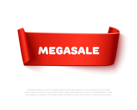 paper rolls: Red curved curl paper ribbon banner with paper rolls and inscription MegaSALE isolated on white background. Realistic vector paper ribbon template with shadow for promo and sale advertising.
