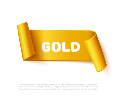 sale sticker: Gold curved paper ribbon banner with paper rolls and inscription GOLD isolated on white background. Realistic vector gold yellow paper template for special promo and sale advertising. Curved ribbon on white with space for text