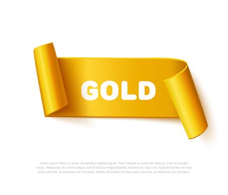 Gouden gebogen papier lint banner met papierrollen en inschrijving goud geïsoleerd op een witte achtergrond. Realistische vector goud geel papier sjabloon voor speciale promo en reclame op verkooppunten. Gebogen lint op wit met ruimte voor tekst