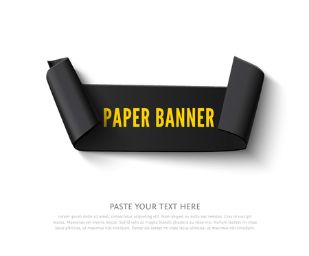 paper rolls: Black curved paper ribbon banner with paper rolls and text isolated on white background. Realistic vector black paper ribbon with space for message Illustration