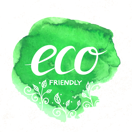 Eco Friendly hand drawn lettering sticker with doodle plants isolated on white. Vector prase for ecological design. Eco friendly label with watercolor stain Ilustrace