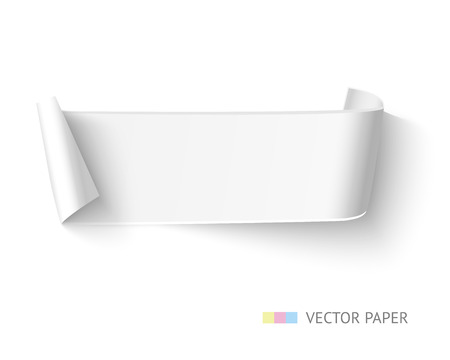 paper rolls: White blank paper curved ribbon banner with paper rolls isolated on white background. Realistic vector paper with space for text, message, advertising.