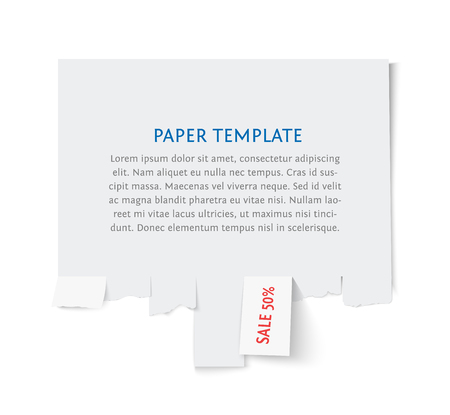 tear: Street advertisement template with copy space for text isolated on white. Tear off paper notice on the wall. Promotion sale Illustration