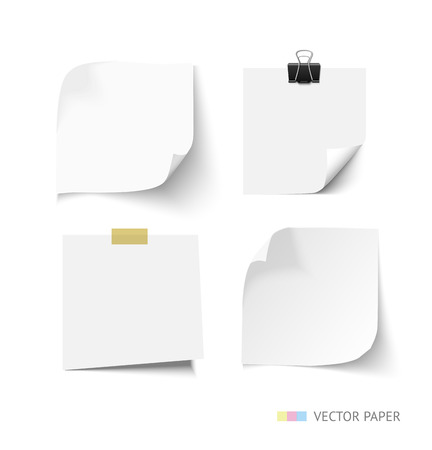notepaper: Set of post it paper sheets. Realistic vector notepaper with curl corners. Reminder with paper clip and sticky tape. Realistic vector note paper illustration. Paper sheets with curled corners