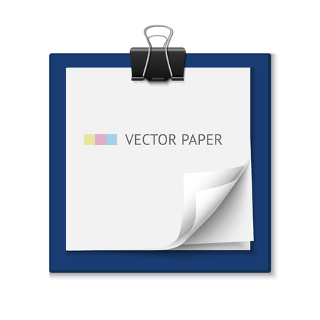 post it: Stack of white post it note paper. Realistic vector note paper illustration. Paper sheets with curled corners