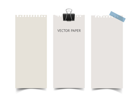 scotch tape: Set of vertical paper card banners with paper clip and scotch tape. Realistic vector notepaper wit torn edges isolated on white background. Paper sheets with shadow. Illustration